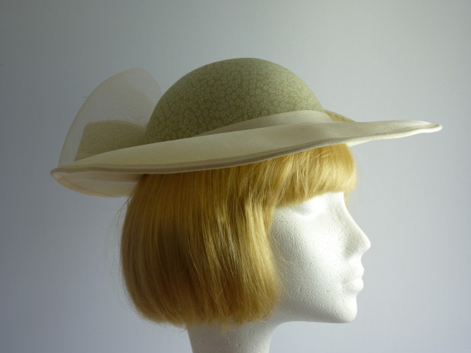 Wedding hat Palest Cream and Green